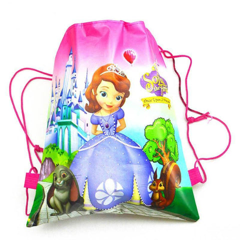 1 Pic children drawstring bags Sofia Satchel For Girls & Boys Print character school backpack nylon teenagers