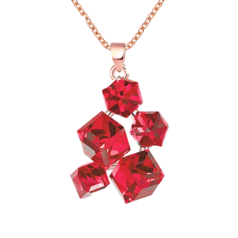 Colar Geometric Necklaces & Pendants Rose Gold Color Women Necklace with Red Stones New Jewellery - babiesrhere