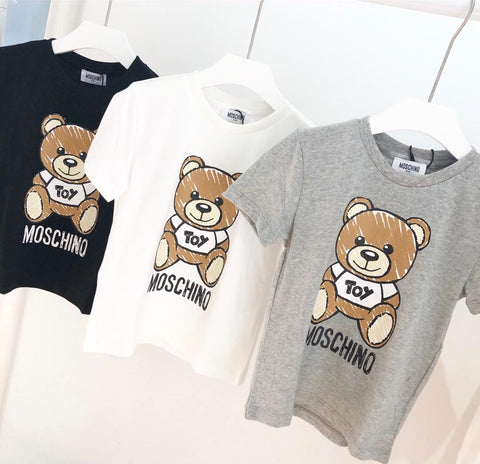Kids Designer T Shirt Luxury Boys Bear Pattern Short Sleeves Girls Brand Letter Printed Top Tees 2019 Summer New Kids Clothes 3 STYLES