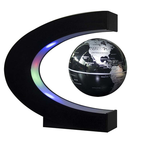 C Shape led night light with Magnetic Levitation Floating Globe World Map 3 Colors for Decoration - babiesrhere