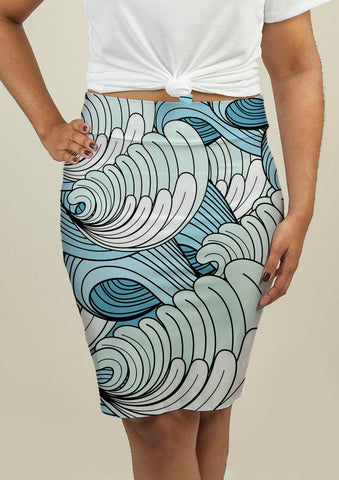 Pencil Skirt with Waves - babiesrhere