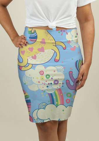 Pencil Skirt with Rainbows and Unicorns in the Clouds - babiesrhere