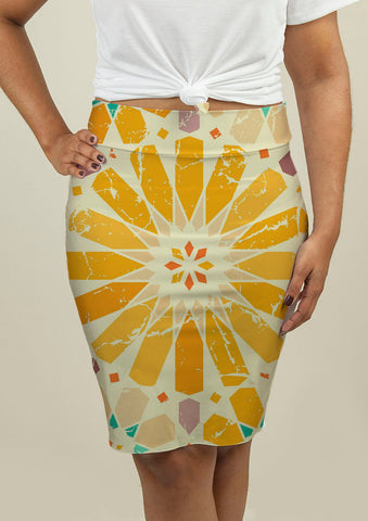 Pencil Skirt with Arabic Pattern - babiesrhere