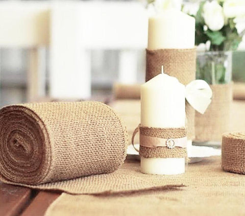 10M*15CM Vintage Jute Burlaps Roll for Wedding Decoration in Table Sashes Valentine Day