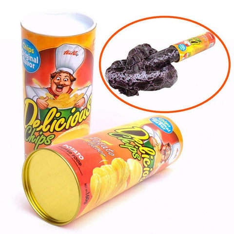 Fun Joke Toys Funny Potato Chip Can Jump Spring Snake Toy Gift April Fool Day Halloween Party Decoration Jokes Prank Trick
