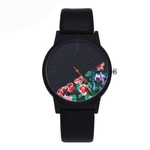 New Vintage Leather Women Watches Floral Pattern Casual Quartz Watch Women Clock Relogio Feminino