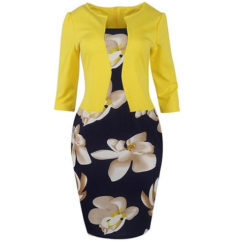Women Fall One Piece Patchwork Floral Print Elegant Business Party Formal Office Bodycon Dresses