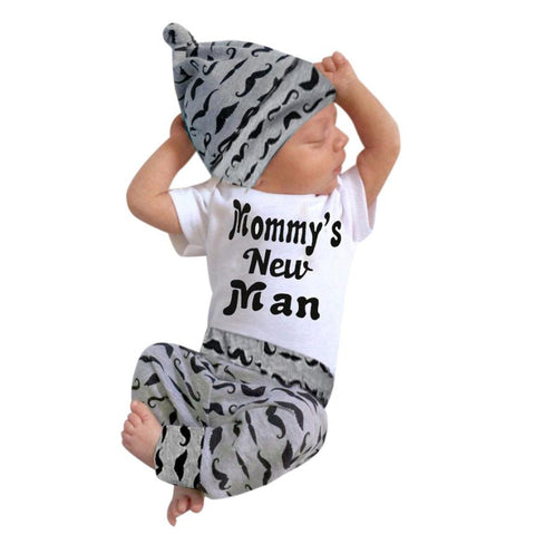 Newborn Baby Girl Boy Clothes Sets Beard Tops T-shirt Pants Casual Leggings 3pcs Set - babiesrhere
