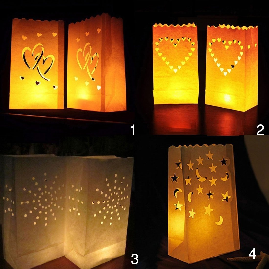 10pcs Wedding Light Holder Luminaria Paper Lantern Candle Bag Valentines Day Gifts Party Decoration
