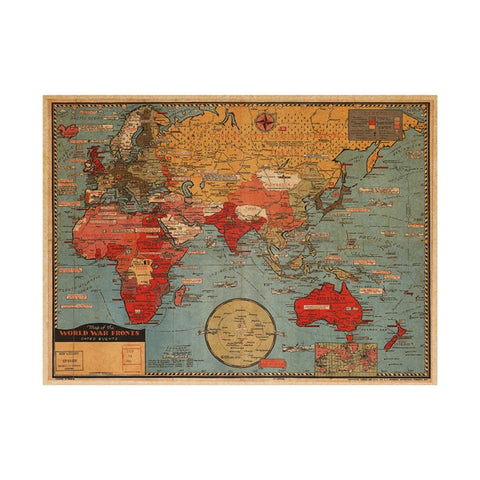 Vintage Map Wall Decal Kraft Paper Antique Poster Wall Mural for Home Office Decor 70x50cm - babiesrhere