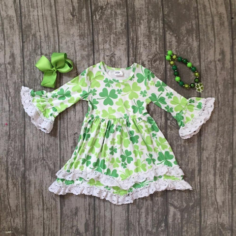 Baby girls St Patrick outfits girls Shamrock dress clothing children St Patrick day with white lace dress with accessories - Babiesrhere