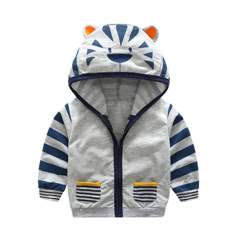 Infant Toddler Kids Baby Boy Girl Cartoon Animal Hooded Zipper Tops Clothes Coat - babiesrhere