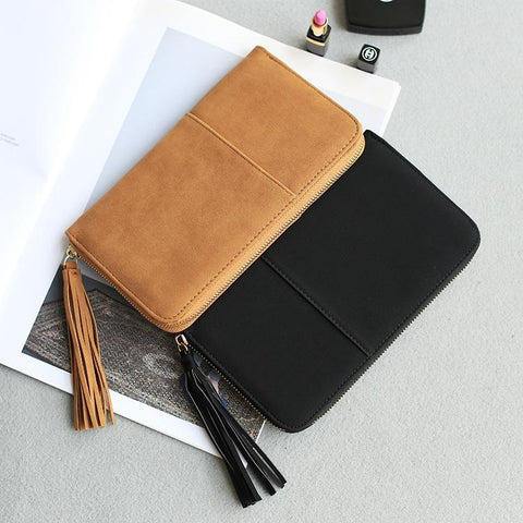 Fashion women wallets brand long wallet leather solid color tassel high quality change purse