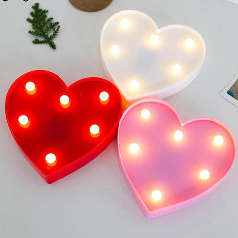 1pcs Cute 3D Heart Shape Led Night Light Wedding Kids Birthday Party Valentine's Day Gifts Baby Shower Home Room Decor Supplies - babiesrhere