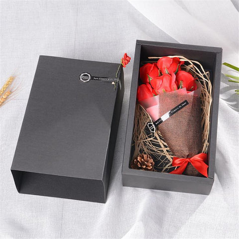 7 Pcs Scented Soap Roses Bouquet Artificial Flower Real Touch Gift Box For Valentine