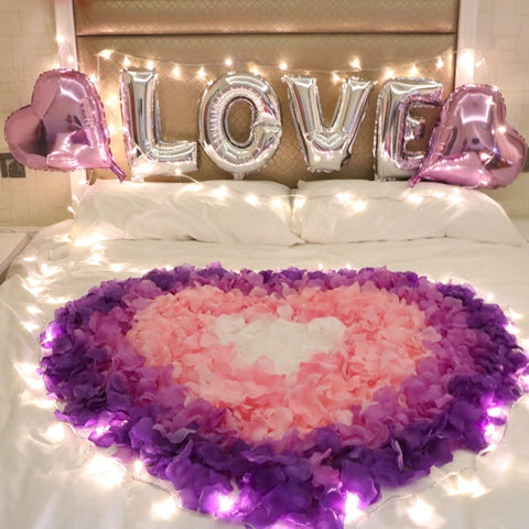 Artificial Rose Petals Love Heart Wedding Balloons Romantic Valentines Decoration