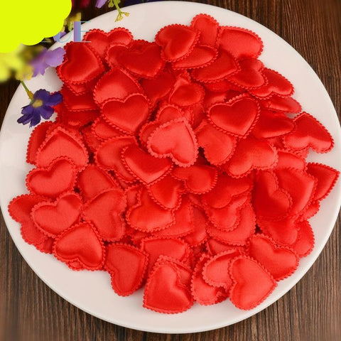 1000 pcs/lot Padded Felt Fabric Sponge Love Heart Petals Appliques For Valentine 's Day