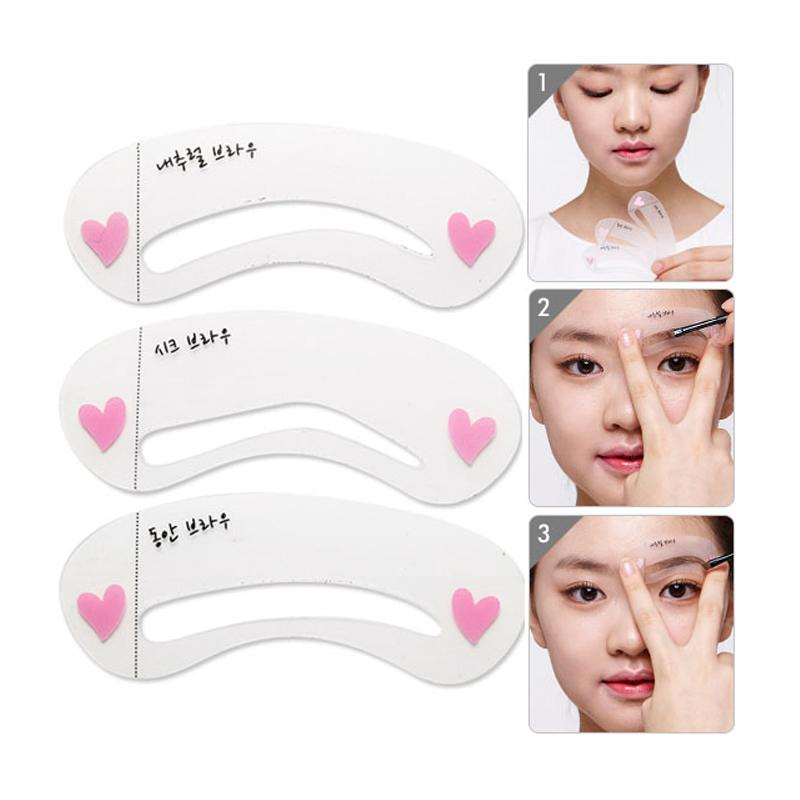 3 Pcs Grooming Shaping Template Eyebrow Stencils Drawing Card