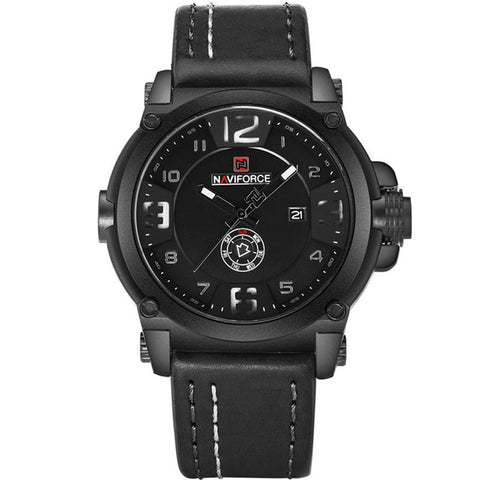 Navi force Militray Sport Quartz Men Watch Leather Waterproof Male Wristwatches