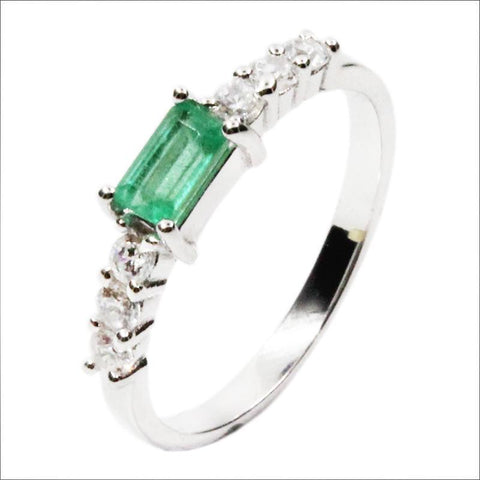 Silver emerald ring 3*5mm natural emerald gemstone solid silver 925 silver valentine gift