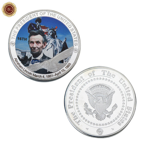 Statue of Liberty Challenge Coin US 16th President Abraham Lincoln Commemorative Silver Coin - babiesrhere