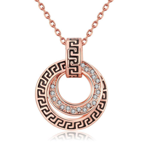 18K Rose Gold Plated Medallion Style Necklace Jewelry