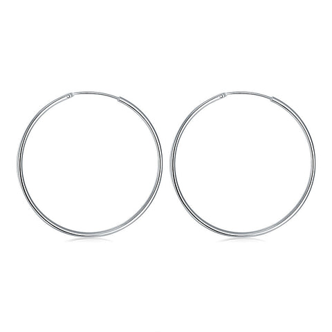 2mm Sterling Silver  Plated Haute Hoop Earrings Jewelry