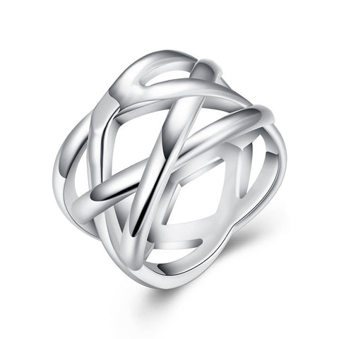 18K White Gold Plated Criss Cross X Ring Jewelry