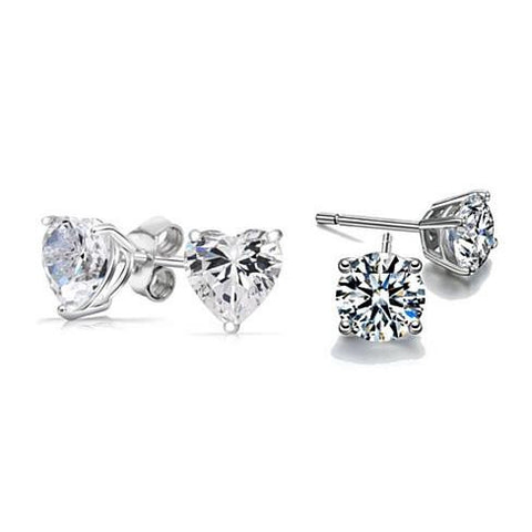 2-Pack: 2 Ct Sterling Silver Studs - Round + Heart Jewelry