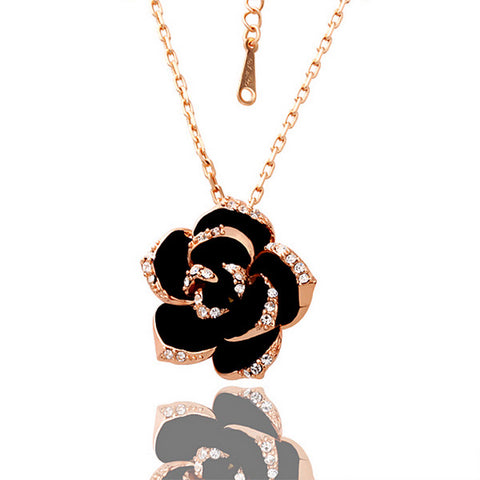 Rose Gold Plated Large Onyx Rose Petal Necklace Jewelry - babiesrhere