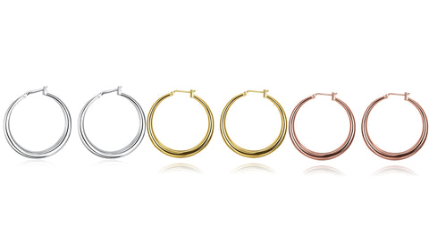 3 Pairs French Lock Gold Filled Hoop Earrings Jewelry