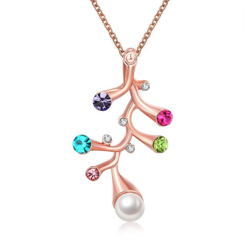 18K Rose Gold Plated Multi Gem Branch Necklace Jewelry