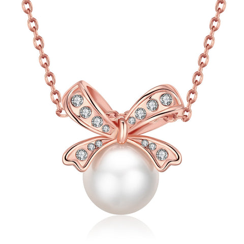 18K Rose Gold Plated Bow Pearled Necklace Jewelry