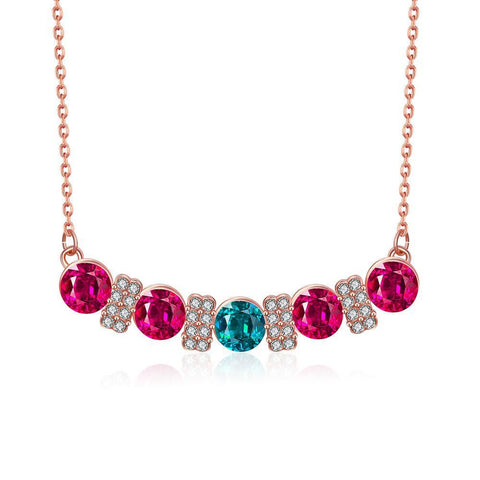 18K Rose Gold Plated Multi-Gem Bar Necklace Jewelry