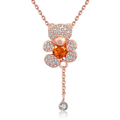 18K Rose Gold Plated Teddy Bear Necklace Jewelry - babiesrhere