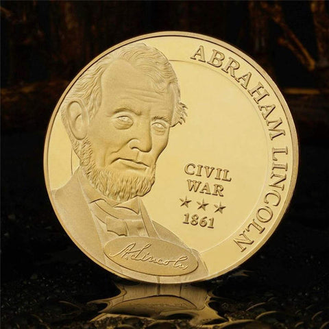 Golden&Silver Plated Abraham Lincoln, President Of the United States Commemorative Coins - babiesrhere