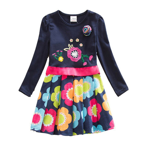 Long Sleeve Kids Flower Dresses Children Unicorn Vestidos Girls Dresses - babiesrhere