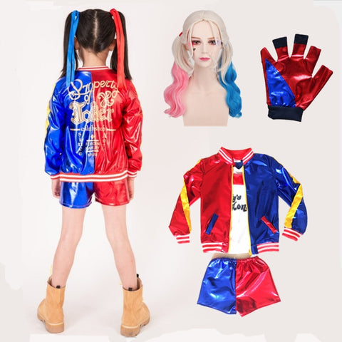 5 pcs Harley Quinn Cosplay Costumes 2019 Kids Girls Purim Coats Suit with Wig Gloves