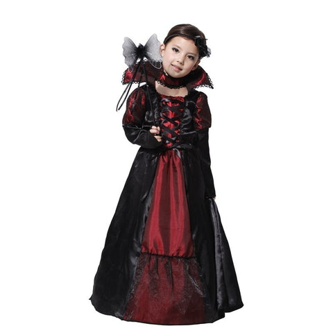 Children Girls Gothic Vampire Purim Festival Costumes for Kids Princess Party Dress