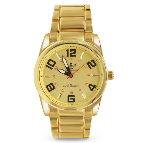 Big Arabic Numeral Gold Executive Classic Mens Watch - babiesrhere