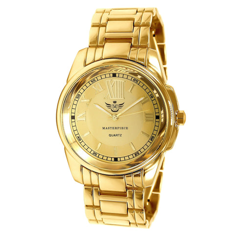 Gold Big 12 Roman Numeral Executive Classic Mens Watch - babiesrhere