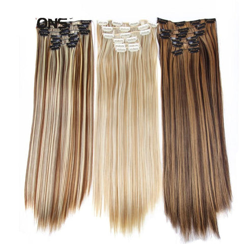 16 colors 16 clips Long Straight Synthetic Hair Extensions Clips - babiesrhere