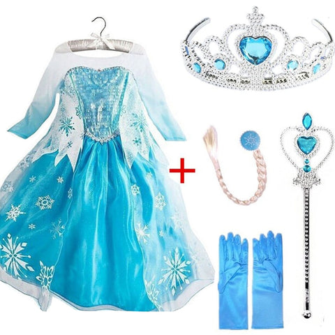 Queen Elsa Dresses Elsa Elza Costumes Princess Anna Dress for Girls Party Vestidos - babiesrhere