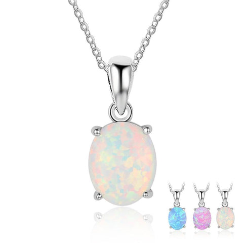 Women 925 Sterling Silver Pendant Necklaces Created Oval White Pink Blue Opal Necklace