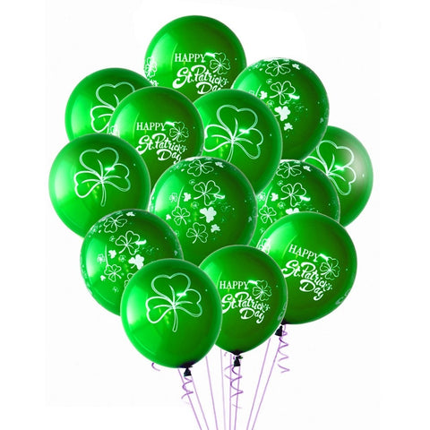 Pack Of 15pcs Happy St Patricks Day Decorations Clover Shamrock Latex Balloons