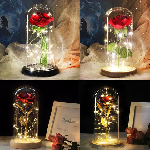 New Beauty and the Beast Gilded Blue Roses With LED Lights In A Glass Dome For Valentines Day - babiesrhere
