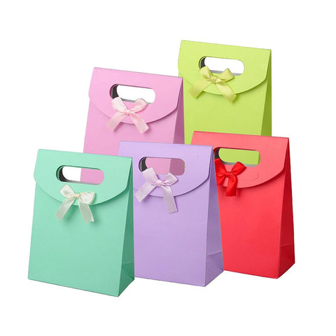 60pcs/lot 16.3x12.3cm Paper Gift Bags with Ribbon Bowknot for Valentines Day
