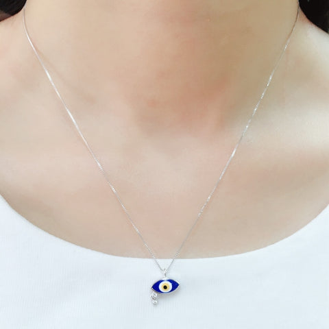 MW 925 Sterling Silver eyes Pendant white Enamel necklace women jewelry Valentines Gift