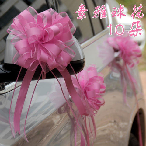 10 Colors Quality Large Organza bouquet Valentine Day Pull Bows Ribbon Car door Decoration