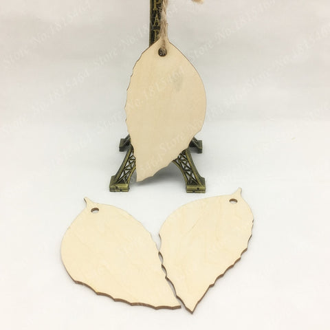 60pcs Wish Card Leaves Wood Tags Tree Decoration Ornaments Rustic Tags Wedding Valentine